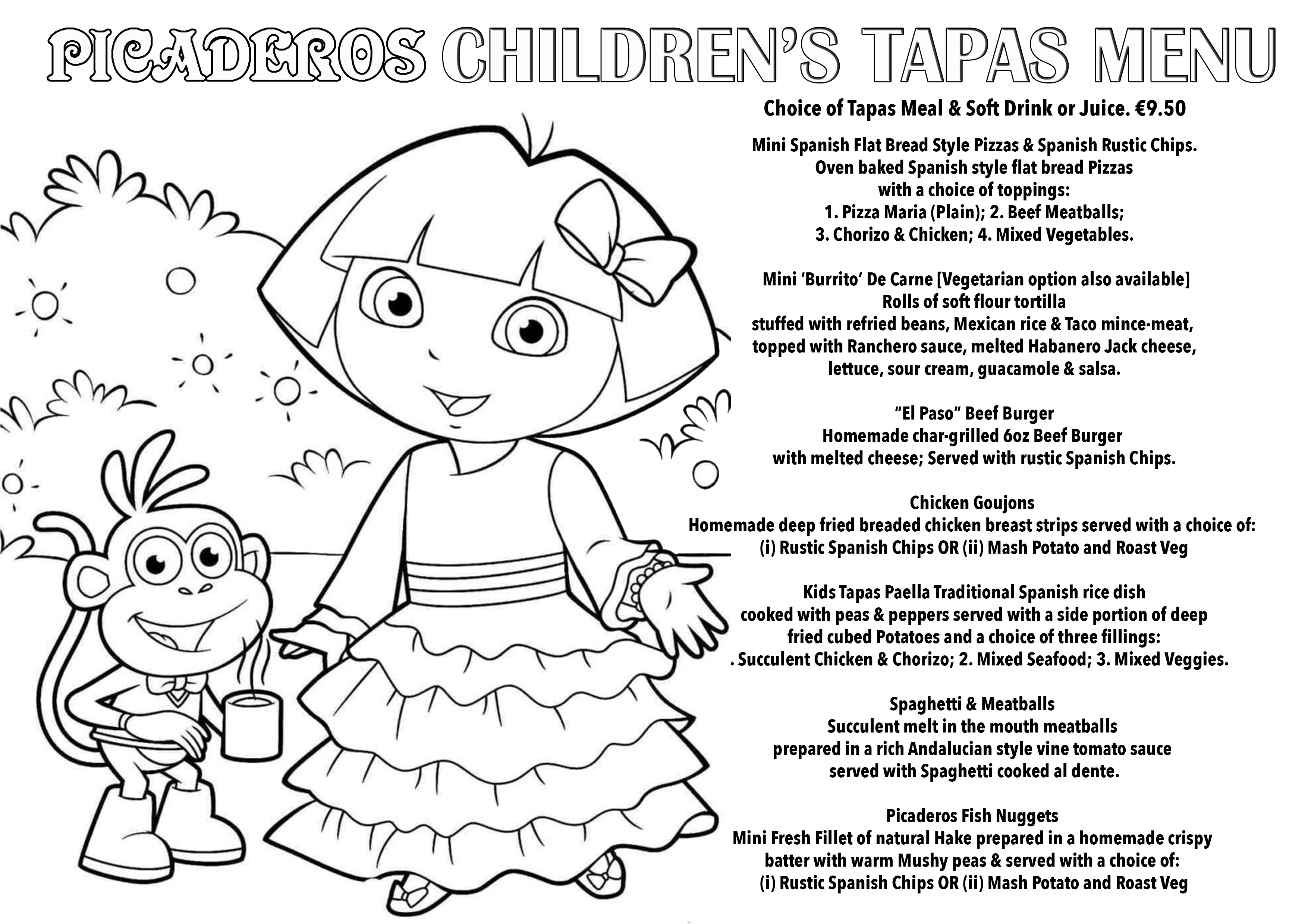 pic kids menu dora